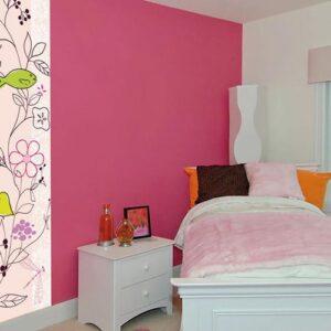 stickers adhésifs Poésie rose pâle à fleurs dans une chambre fille