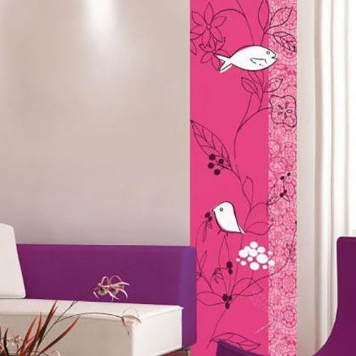 Sticker adhésif Fleur stylisée Framboise et Blanc