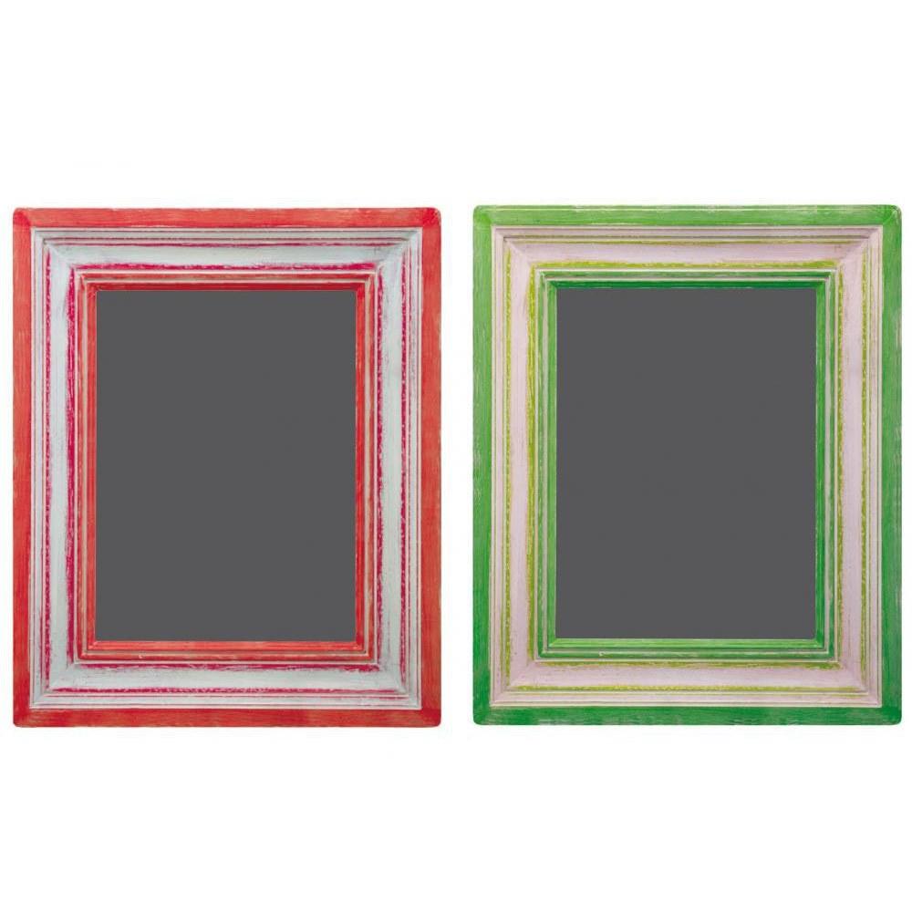 Pack déco ardoises adhésives style tableaux à craies cadre rouge et vert