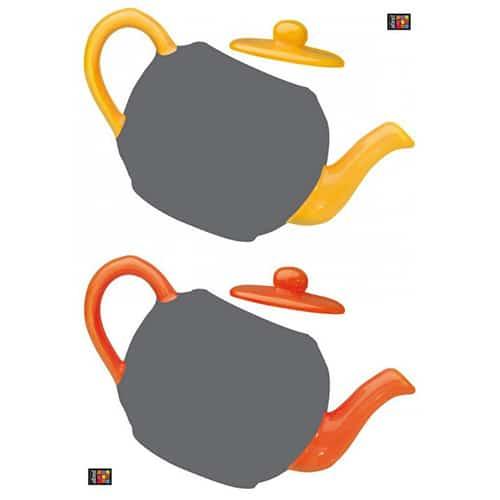 Sticker autocollant Théières jaune et orange