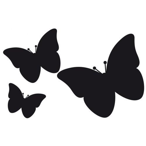 Pck de 3 stickers ardoises adhésives papillons noirs