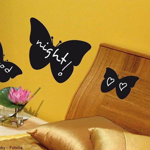 Sticker autocollant ardoise tableau noir Papillons mis en ambiance dans une chambre