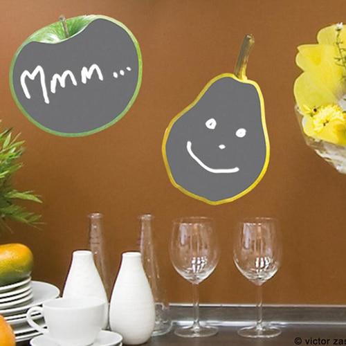 Sticker adhésif ardoise tableau noir Poires et Pommes à coller dans une cuisine