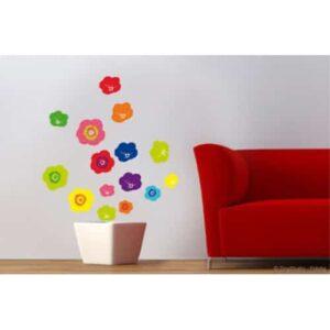 Sticker Fleurs Pop Multicolore pour déco salon