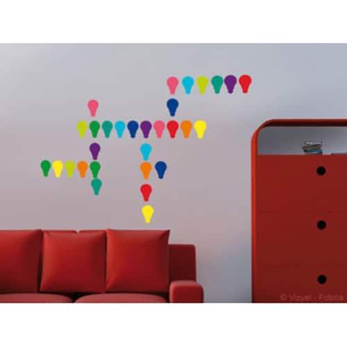 Frise murale autocolante Ampoules Multicolantes