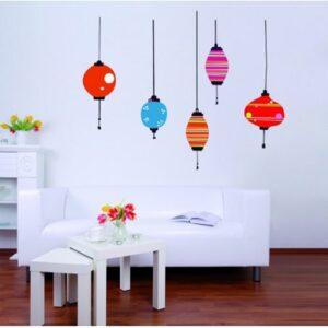 stickers déco nouvel an chinois, lanternes asiatiques colorées.