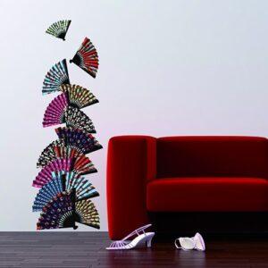 Stickers adhésifs Asie Zen Eventails sur un mur de salon