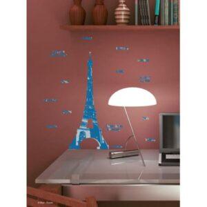 Autocollant de Paris avec Tour Eiffel et les lieux connus