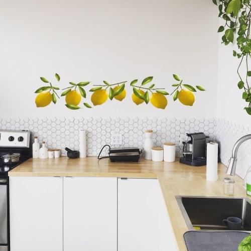Décorationa dhésive pour cuisine - stickers citrons jaunes
