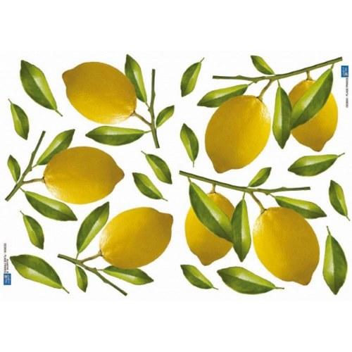 Pack déco de stickers pour cuisine - adhésifs citrons jaunes et feuilles déco
