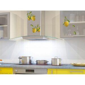 Stickers adhésif citrons jaune en trompe-l'oeil dans une cuisine jaune moderne.
