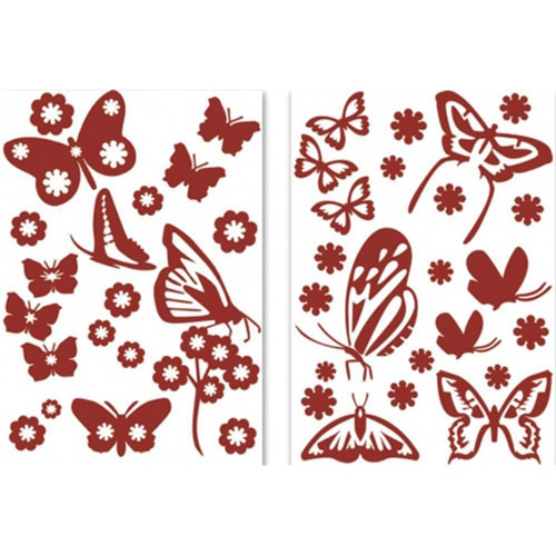 Lot de sticker de papillons rouge
