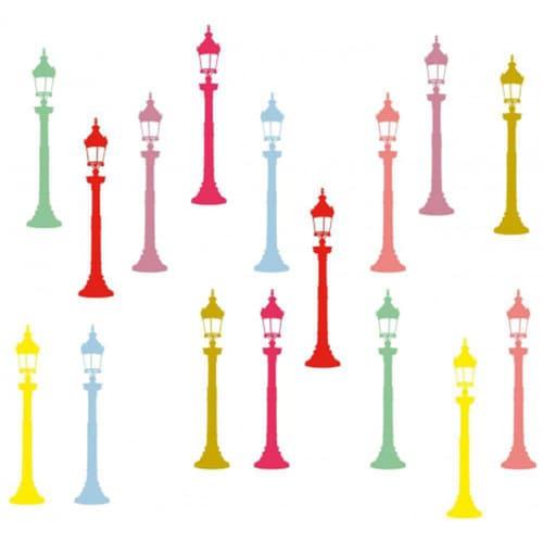 Stickers muraux Silhouettes de réverbères couleurs pop déco