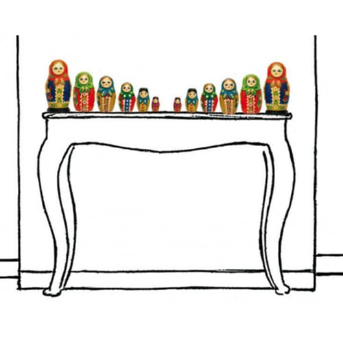Stickers adhésifs muraux rétro poupées russes