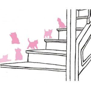Stickers autocollant chats roses sur un escalier