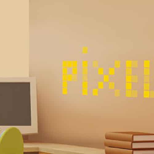 Sticker adhésif Pixels Jaunes dans un salon