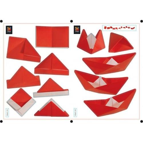 sticker adhésif Origami - Bateau Chapeau en Pliage au-dessus d'un bureau