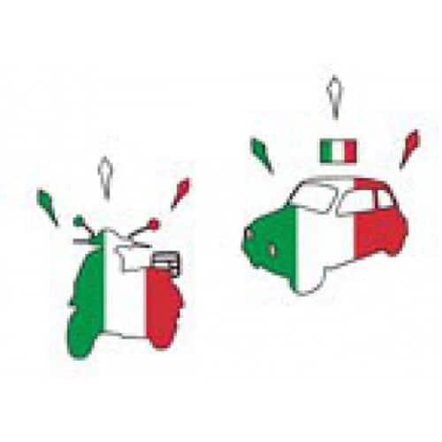 stickers Vespa et Fiat 500 aux couleurs du drapeau d'Italie