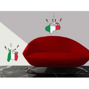 stickers muraux vespa et fiat 500 motifs drapeau d'Italie
