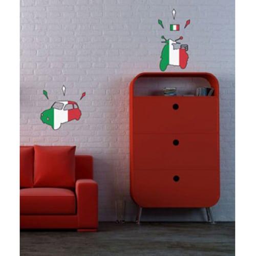 Autocollants muraux vespa et fiat 500 motifs drapeau d'Italie