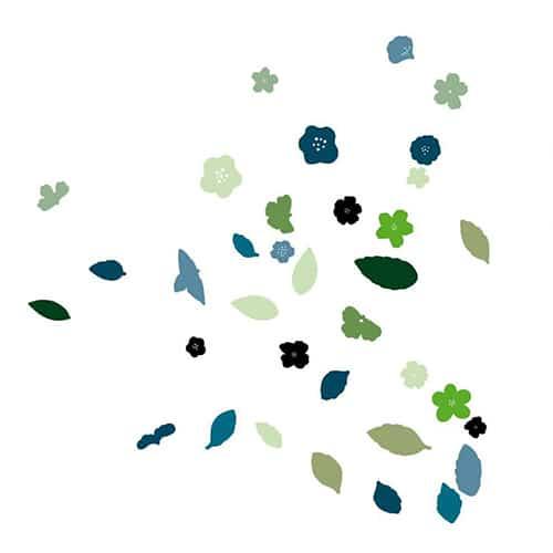 Sticker mural Floraison Fleurs et Feuilles en camaïeu de bleu !