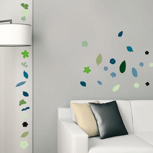 Sticker adhésif Floraison Fleurs et Feuilles en camaïeu de bleu