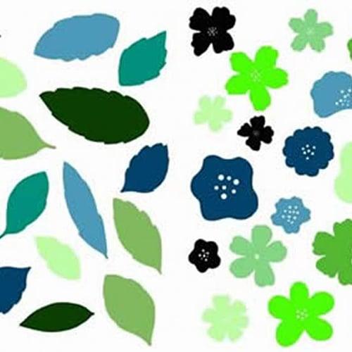 Sticker Floraison Fleurs et Feuilles en camaïeu de bleu