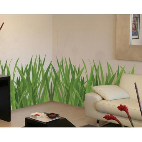 Sticker herbes hautes vertes pour déco salon