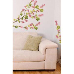 Sticker adhésif Branches de Groseillier Sauvage rose et vert