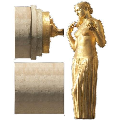 Sticker mural autocollant sculpture de femme dorée