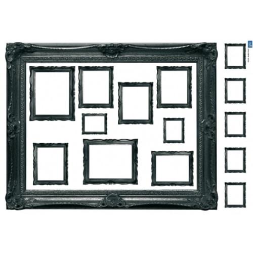 Sticker Mural cadre rétro noir