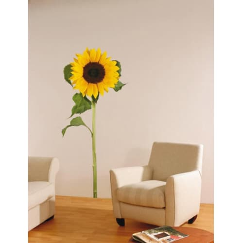 Sticker fleur géant tournesol jaune dans un salon