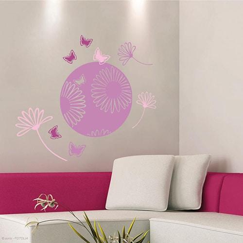 Sticker mural Pastilles Fleurs des Champs
