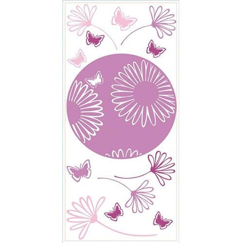 sticker Dessin fleurs des champs roses