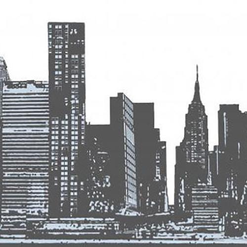 sticker panorama d'une ville en noir et blanc