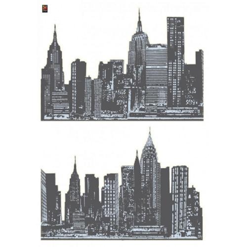 stickers panoramas de villes en noir et blanc