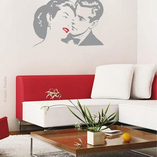 Sticker Pixels Rouges sur un mur de salon