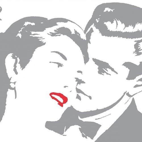Stickers rétro couple pour déco maison