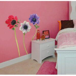 Sticker adhésif de fleur Anémones dans une chambre