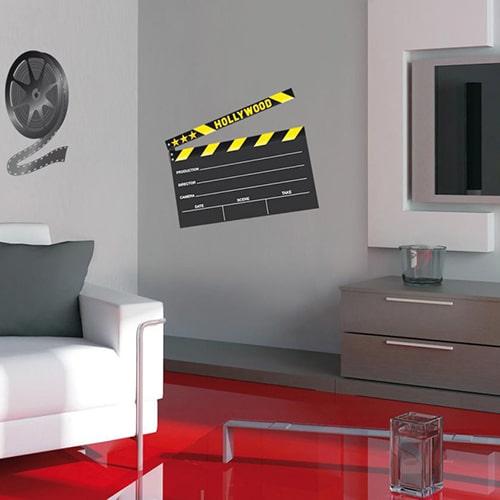 Sticker adhésif ardoise tableau noir Clap de cinéma