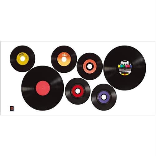 Stickers adhésif mural Disques Vinyles Vintage Ardoise Tableau Noir à coller au mur