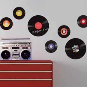 Stickers rétro disques vinyles vintage Ardoise Tableau Noir