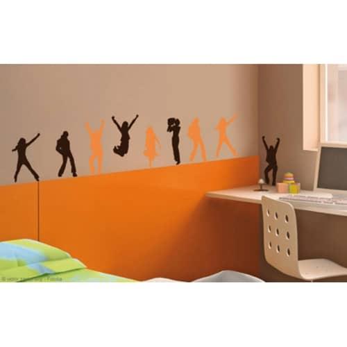 Frise autocollante murale, stickers pas de danse