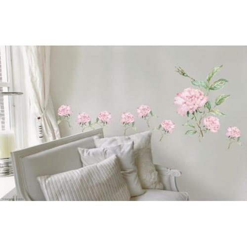 Sticker adhésif oeillets roses