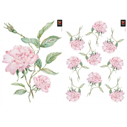 Sticker adhésif Oeillets Roses prêt à coller
