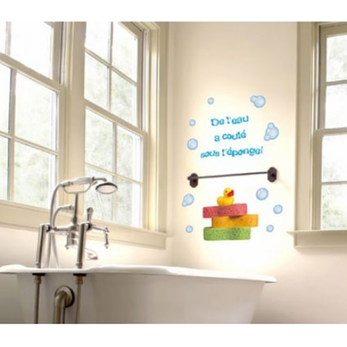 Stickers De l'eau à coulé sous l'éponge déco salle de bain