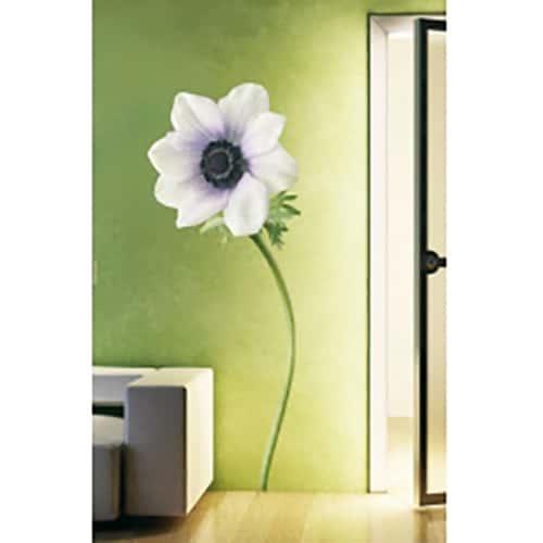 Autocollant Fleur d'Anémone Blanche collé au mur