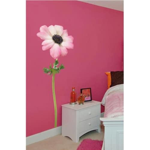Sticker de fleur géant Anémone Rose dans un salon