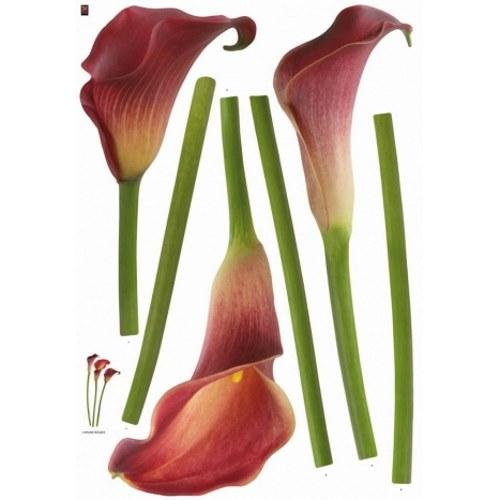Pack déco de 3 stickers fleur d'arum rouge.