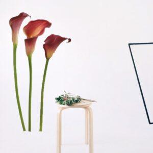 Entrée lumineuse personnalisée avec 3 stickers fleurs arums rouges.
